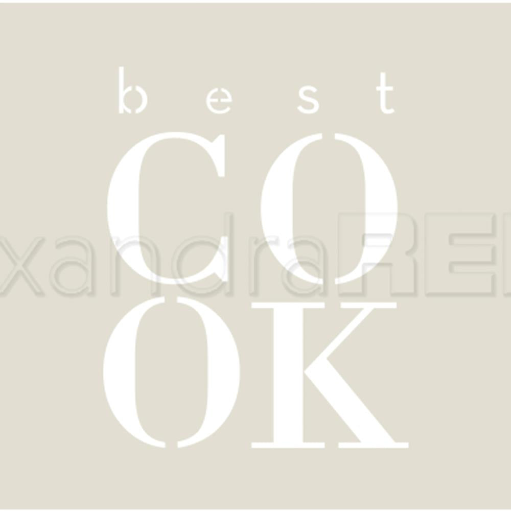 "Alexandra Renke - Stencil 3.8""X3.8"" - Cooking; Best Cook"