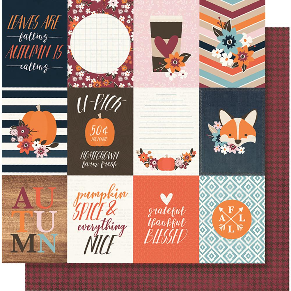 "Simple Stories - Forever Fall Double-Sided Cardstock 12""X12"" 3""X4"" - Elements"