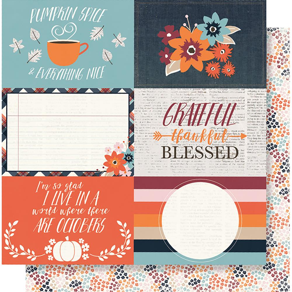 "Simple Stories - Forever Fall Double-Sided Cardstock 12""X12"" 4""X6"" - Horizontal Elements"