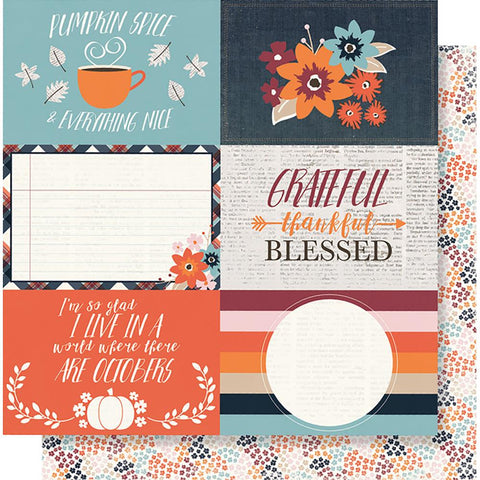 "(Pre Order) Simple Stories - Forever Fall Double-Sided Cardstock 12""X12"" 4""X6"" - Horizontal Elements"