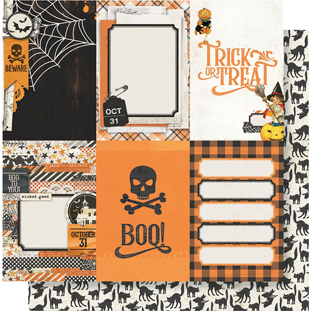 "Simple Stories - Simple Vintage Halloween Double-Sided Cardstock 12""X12"" 4""X6"" - Vertical Elements"