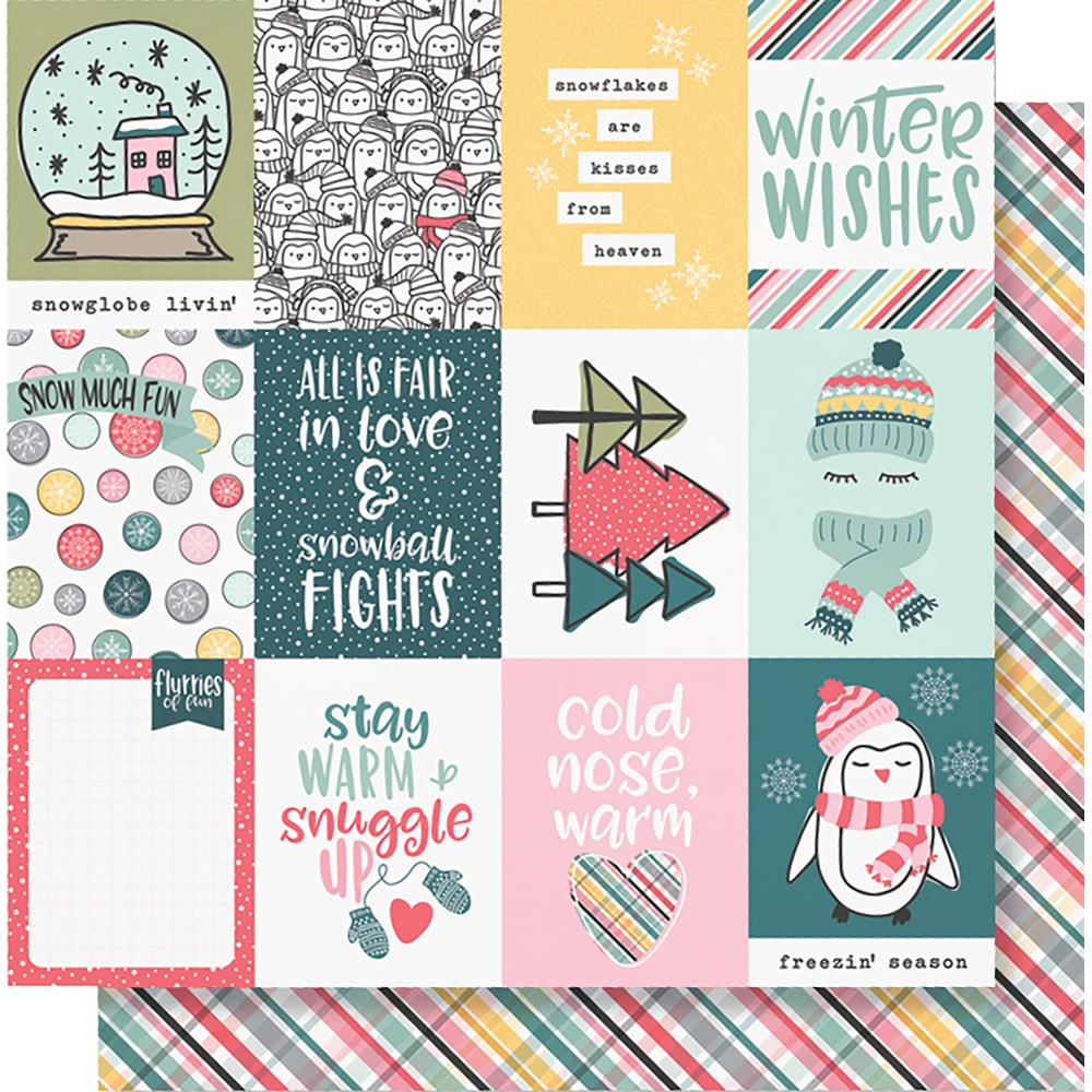 "Simple Stories - Freezin' Season Double-Sided Cardstock 12""X12"" - 3""X4"" Elements"