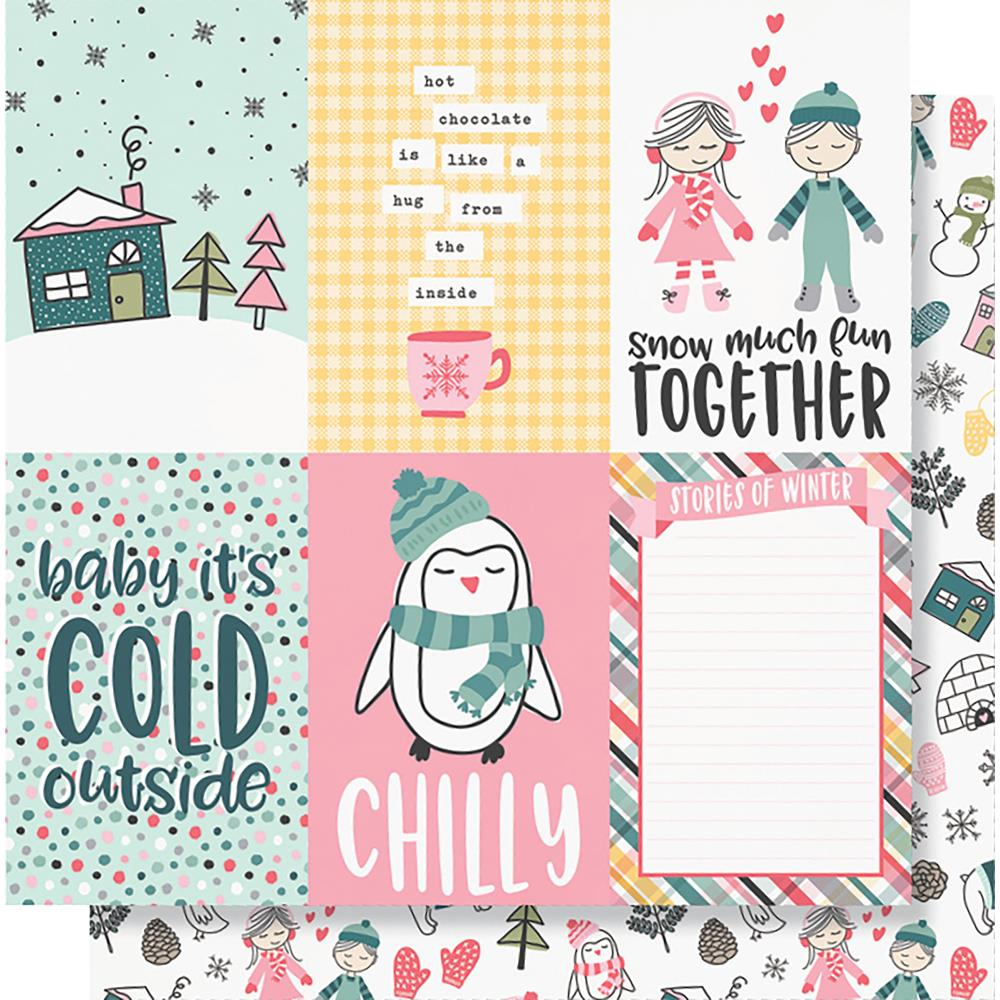 "Simple Stories - Freezin' Season Double-Sided Cardstock 12""X12"" - 4""X6"" Vertical Elements"