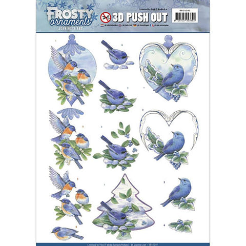 Find It Trading - Jeanine's Art Frosty Ornaments Punchout Sheet - Blue Birds