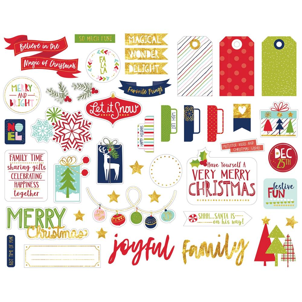 Bella Blvd - Merry Christmas Cardstock Die-Cuts - Ephemera, Shapes, Tabs & Words W/Foil