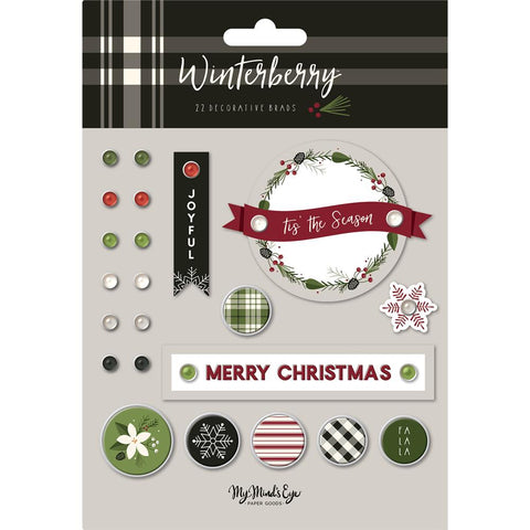 My Mind's Eye - Winterberry Decorative Brads 24/Pkg