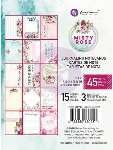 "***Pre-Order*** Prima Marketing - Misty Rose Journaling Notecards - 3""x4"""