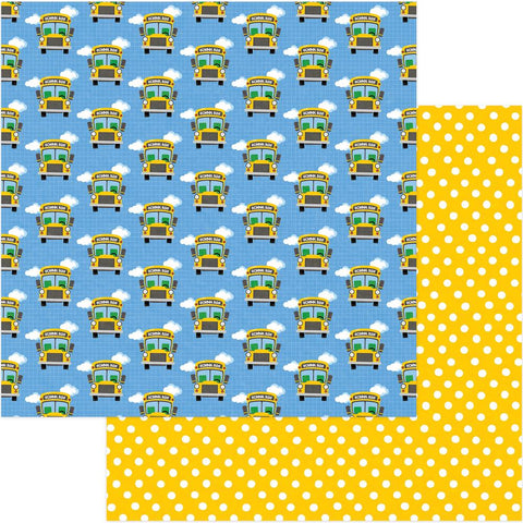 "(Pre Order) PhotoPlay Paper - School Days Double-Sided Cardstock 12""X12"" - Bus Stop"