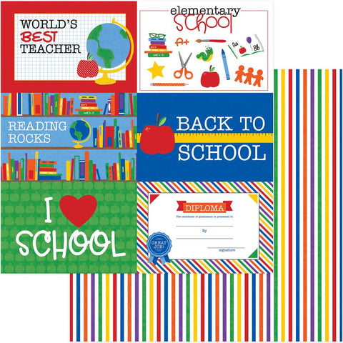 "(Pre Order) PhotoPlay Paper - School Days Double-Sided Cardstock 12""X12"" - Elementary"