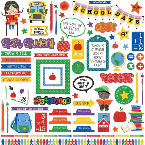 "(Pre Order) PhotoPlay Paper - School Days Stickers 12""X12"" - Elements"