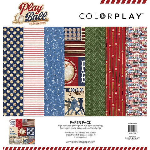 "ColorPlay - Collection Pack 12""X12"" - Play Ball, 6 Designs/2 Each + Bonus"