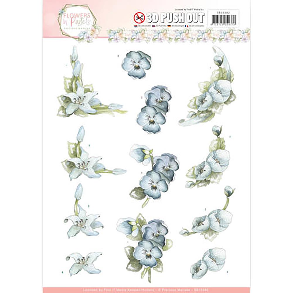 Precious Marieke Flowers In Pastels 3D Push Out Sheet - True Blue