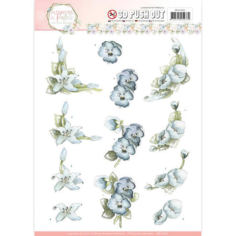 Find It Precious Marieke Flowers In Pastels Punchout Sheet - True Blue