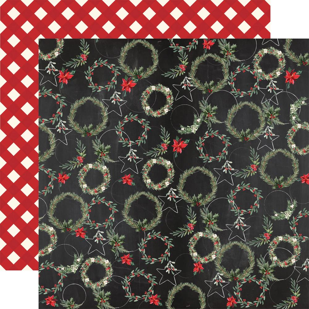 "Carta Bella - Christmas Double-Sided Cardstock 12""X12"" - Jolly Wreaths"