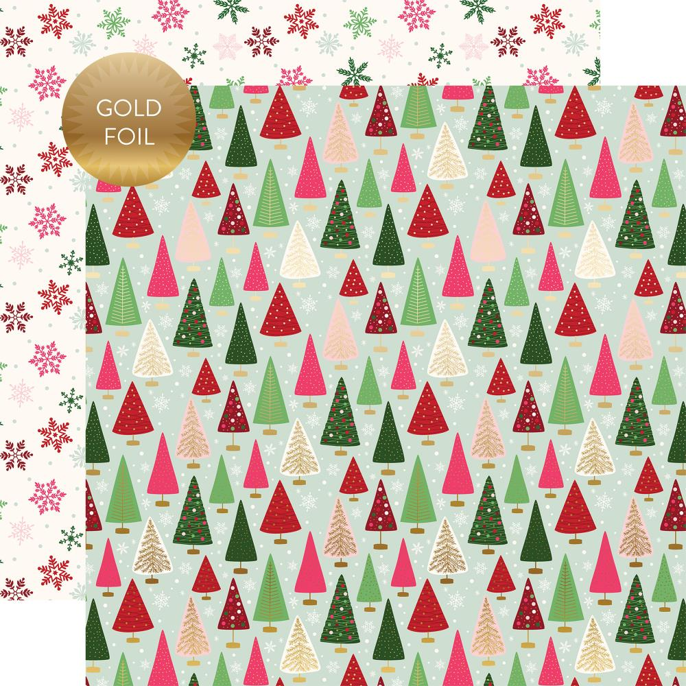 "Echo Park - Merry & Bright Gold Foiled Double-Sided Cardstock 12""X12"" - Winter Wonderland"