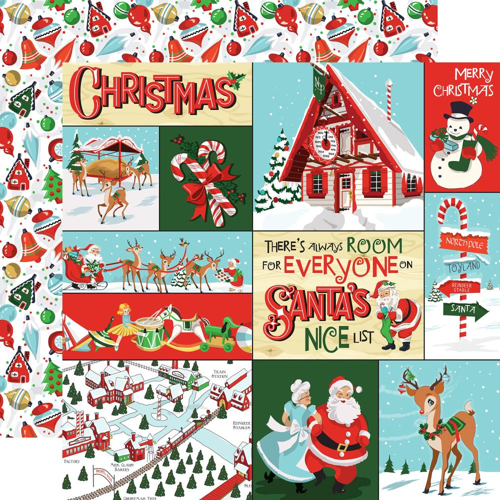 "Carta Bella - Santa's Workshop Double-Sided Cardstock 12""X12"" - Multi Journaling Cards"