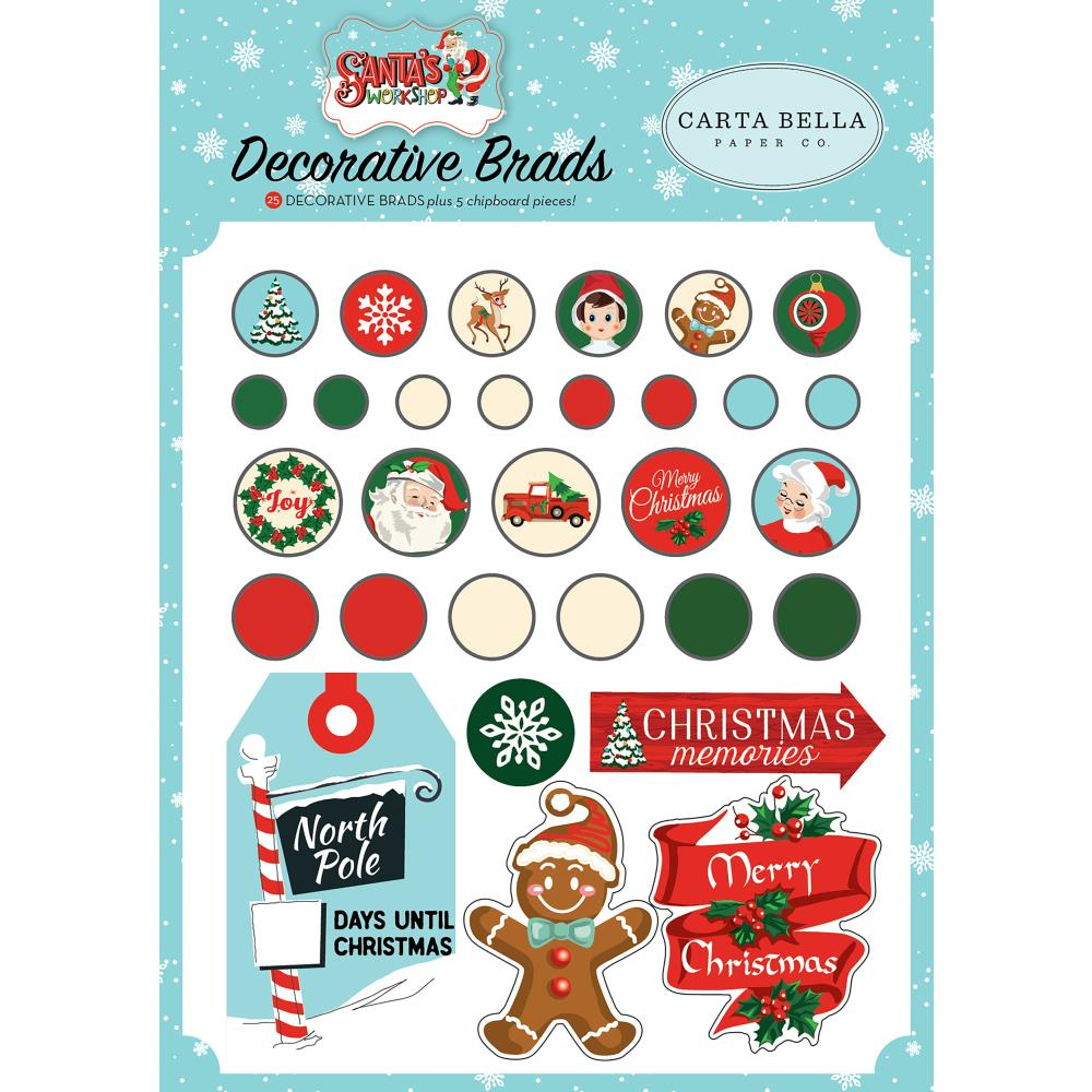 Carta Bella - Santa's Workshop Decorative Brads 25/Pkg - Plus 5 Chipboard Pieces