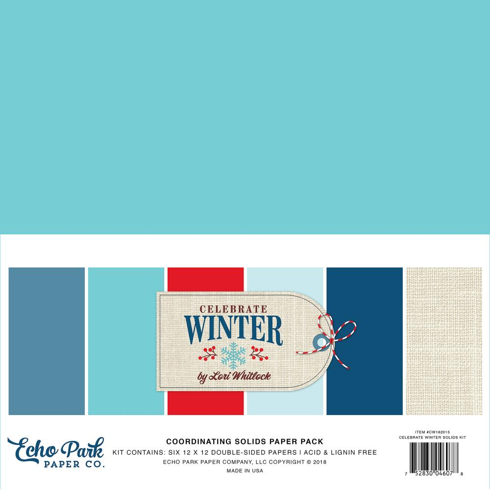 "Echo Park - Double-Sided Solid Cardstock 12""X12"" 6/Pkg - Celebrate Winter, 6 Colors"