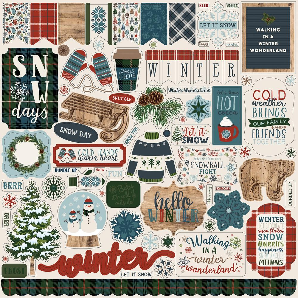 "Carta Bella - Let It Snow Cardstock Stickers 12""X12"" - Elements"