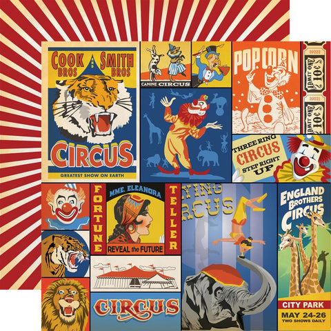 "Carta Bella - Circus Double-Sided Cardstock 12""X12"" - Multi Journaling Cards"
