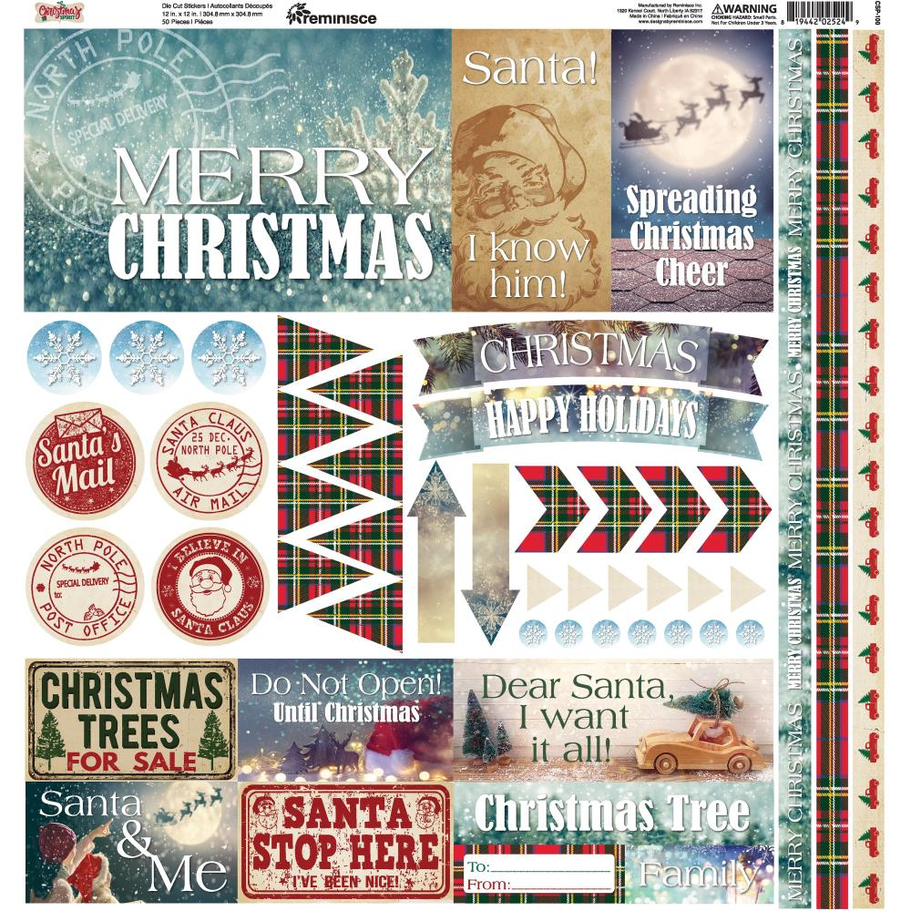 "Reminisce - Christmas Spirit Elements Stickers 12""X12"""