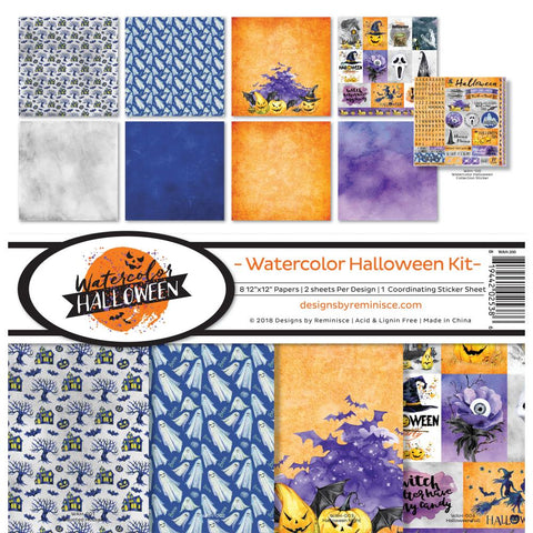 pre order reminisce collection kit 12x12 watercolor halloween