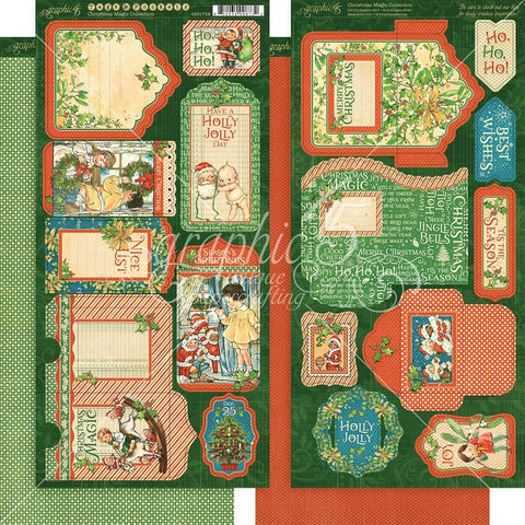 "(Pre Order) Graphic 45 - Christmas Magic Cardstock Die-Cuts 6""X12"" - Sheets 2/Pkg Tags & Pockets"
