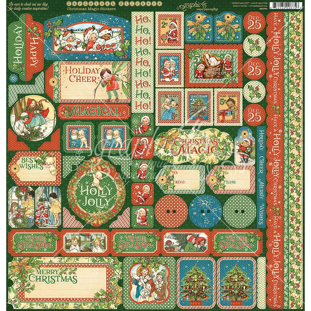 "Graphic 45 - Christmas Magic Cardstock Stickers 12""X12"""