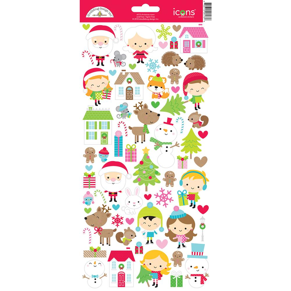 Doodlebug - Cardstock Stickers - Christmas Town Icons