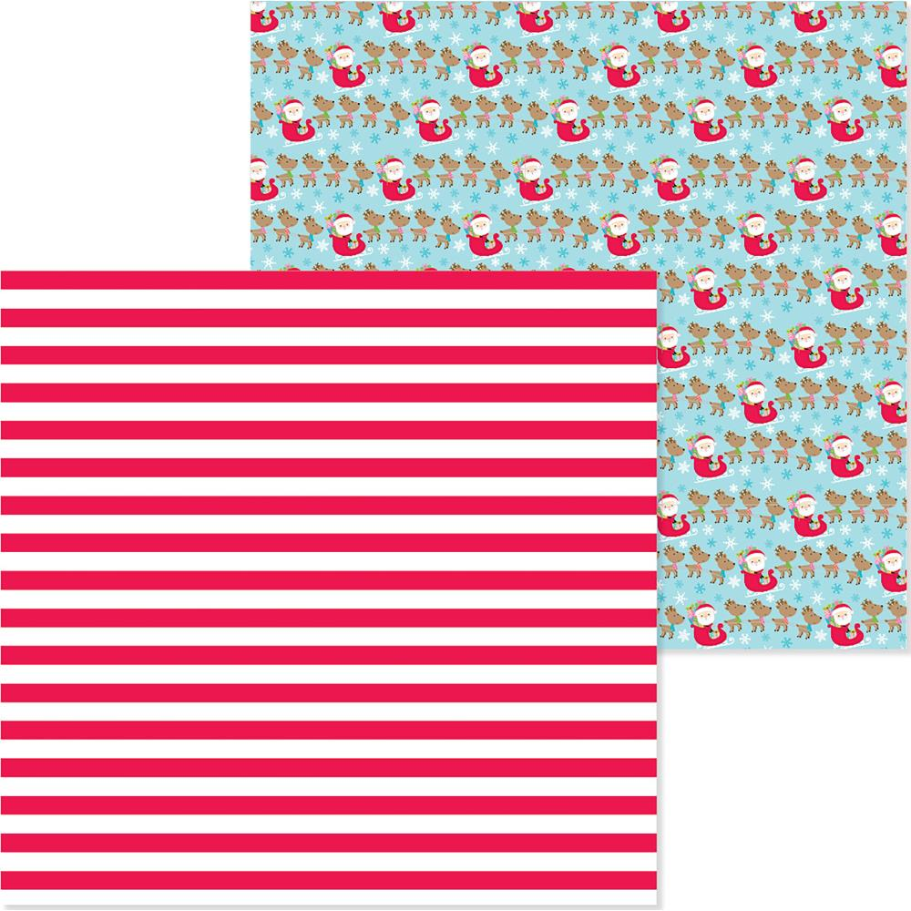 "Doodlebug - Christmas Town Double-Sided Cardstock 12""X12"" - Candy Cane Lane"