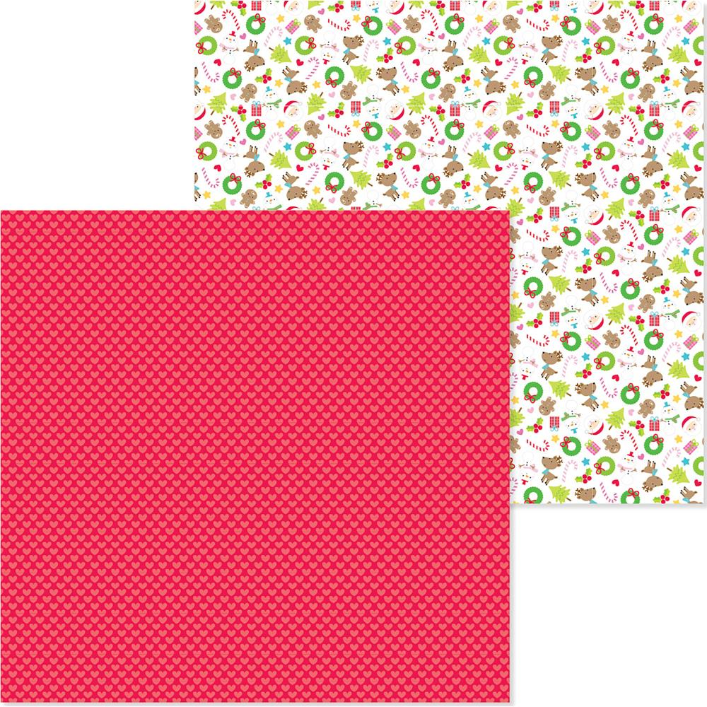 "Doodlebug - Christmas Town Double-Sided Cardstock 12""X12"" - Merry Hearts"