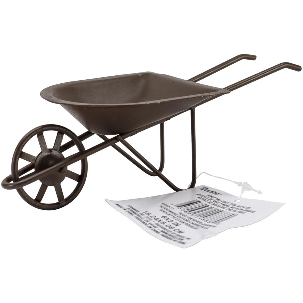 Darice Timeless Miniatures - Rusty Tin Wheelbarrow