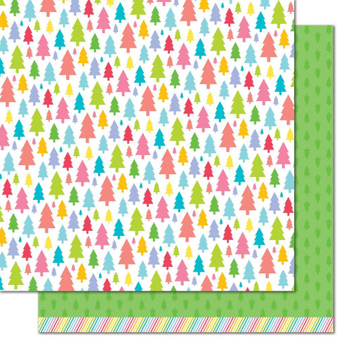 "(Pre Order)  Lawn Fawn - Really Rainbow Christmas Double-Sided Cardstock 12""X12"" - Pine Tree Green"