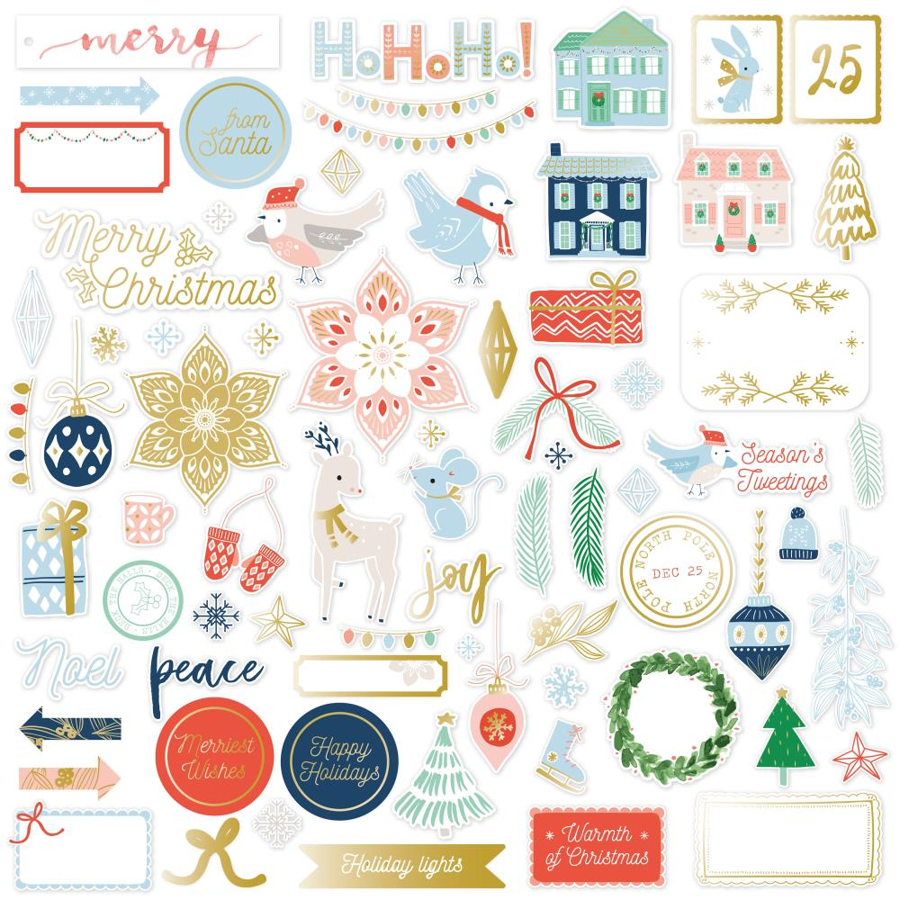 Pinkfresh Studio - Die-Cuts 74/Pkg - Holiday Vibes W/Gold Foil Accents