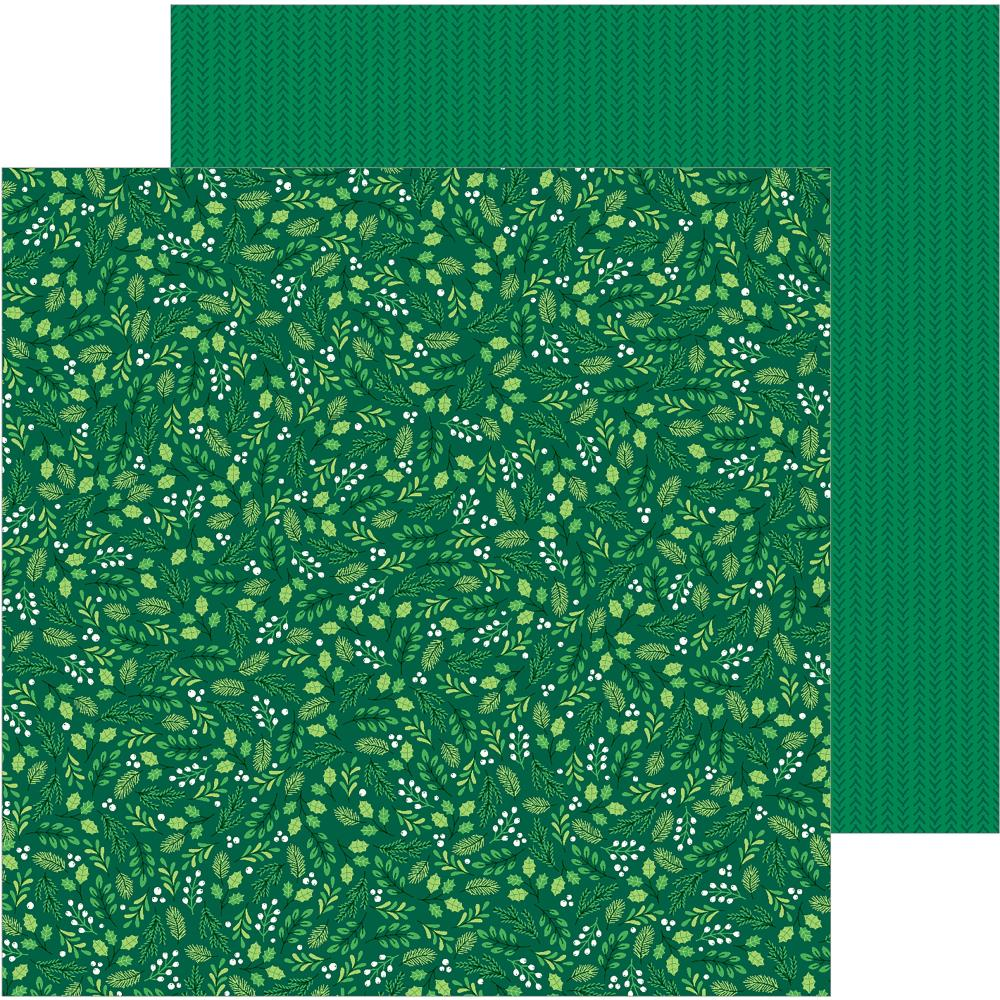 "Pebbles - Cozy & Bright Double-Sided Cardstock 12""X12"" - Winter Green"