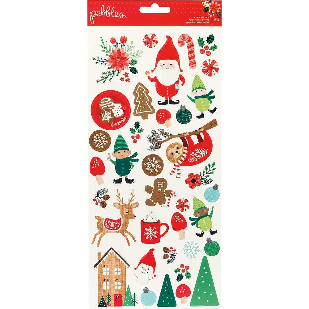 "Pebbles - Cozy & Bright Cardstock Stickers 6""X12"" 62/Pkg - Icons W/White Glitter Accents"