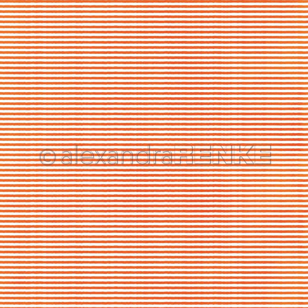 "Alexandra Renke - Halloween Paper 12""X12"" - Stripes Pattern Orange"