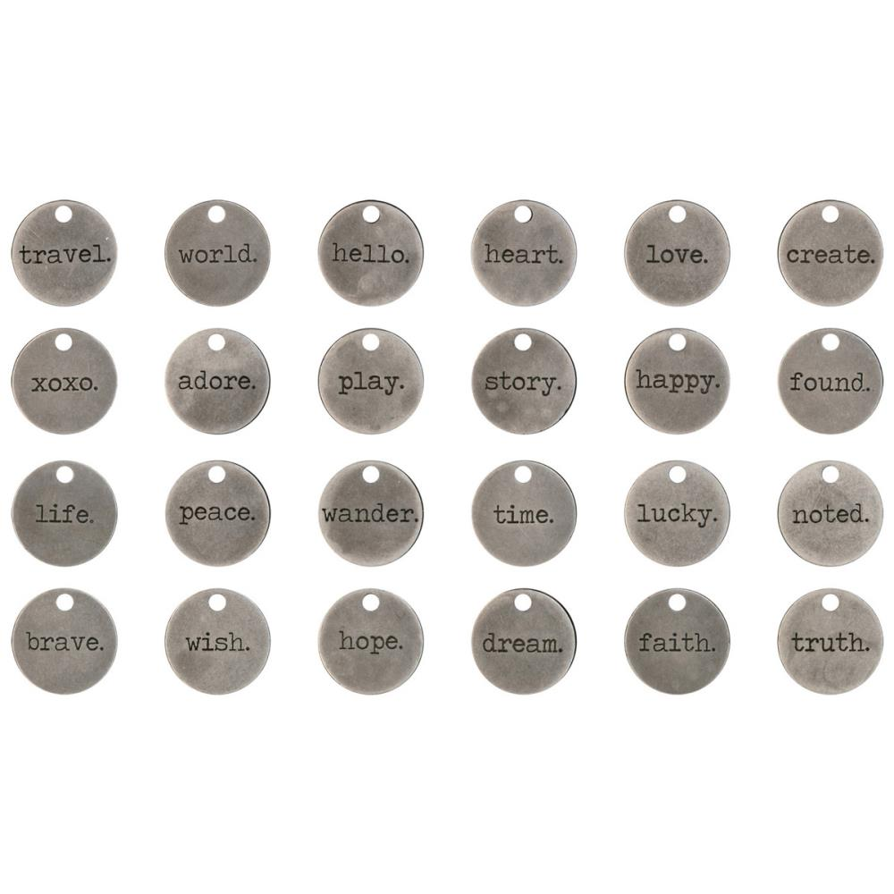 Tim Holtz - Idea-Ology Metal Typed Tokens 24/Pkg - Antique Nickel Words