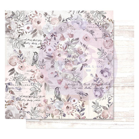 "(Pre Order) Prima Marketing - Lavender Frost Foiled Double-Sided Cardstock 12""X12"" - Finding The Way"