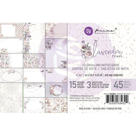 "Prima Marketing - Lavender Frost Journaling Cards Pad 4""X6"" 45/Pkg -15 Designs/3 Each"