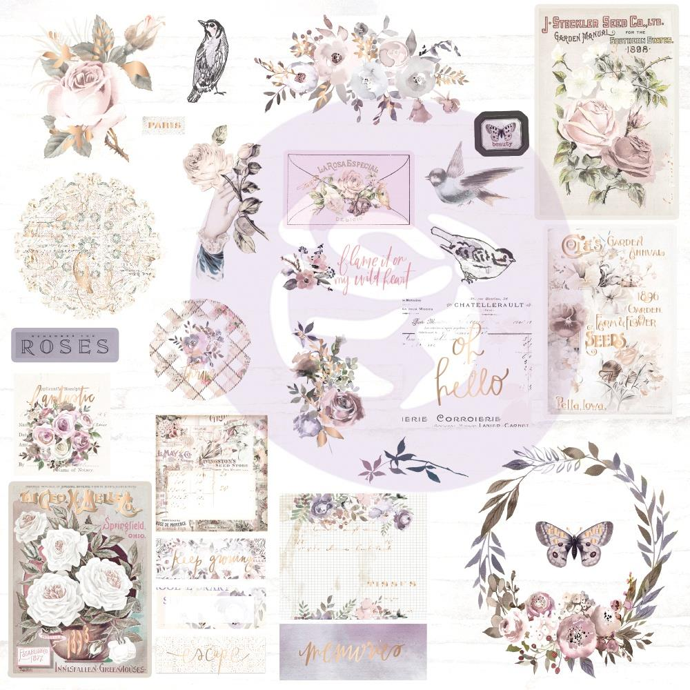 Prima Marketing -  Lavender Frost Ephemera Cardstock & Acetate Die-Cuts 41/Pkg - Shapes, Tags, Words, Foiled Accents