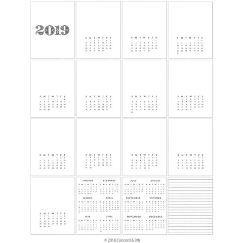 "Concord & 9th - Clear Stamps 4""X4"" - 2019 Calendar"
