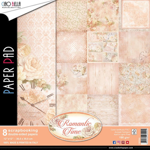 "(Pre Order) Ciao Bella - Romantic Time Double-Sided Paper Pack 12""X12"" 90lb 8/Pkg - Romantic Time, 8 Designs/1 Each"