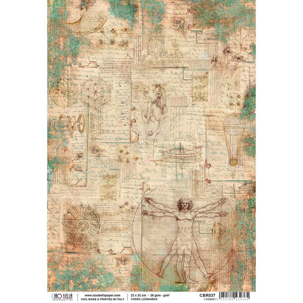 Ciao Bella - Codex Leonardo Piuma Carta Riso Rice Paper Sheet A4 - I Codici