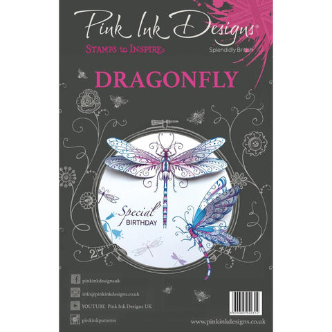 (Pre Order)  Creative Expressions - Pink Ink Designs A5 Clear Stamp Set - Dragonfly