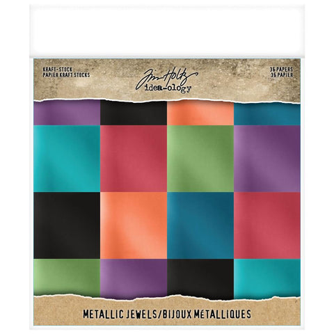"(Pre Order)  Tim Holtz -Advantus - Idea-Ology Paper Stash Kraft Metallic Paper Pad 8""X8"" 36/Pkg - Jewels"