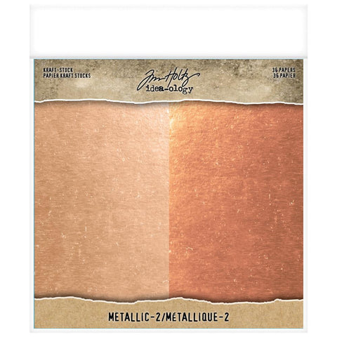 "(Pre Order)  Tim Holtz -Advantus - Idea-Ology Paper Stash Kraft Metallic Paper Pad 8""X8"" 36/Pkg - Metallic 2"