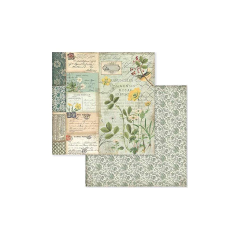 "(Pre Order) Stamperia - Double-Sided Cardstock 12""X12"" - Spring Botanic W/Yellow Alpine Poppy"