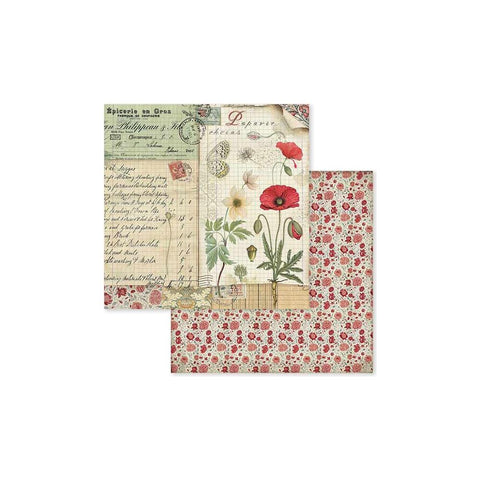 "(Pre Order) Stamperia - Double-Sided Cardstock 12""X12"" - Spring Botanic W/Poppy & Butterfly"