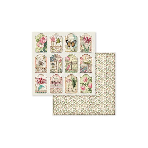 "(Pre Order) Stamperia - Double-Sided Cardstock 12""X12"" - Spring Botanic Tags"